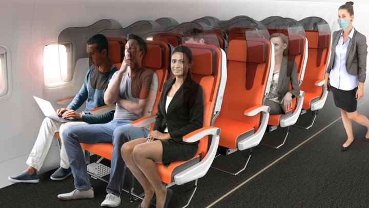 PHOTO: Designers creates airplane seats as from the future. Will the new airplane seats protect passengers from COVID-19?