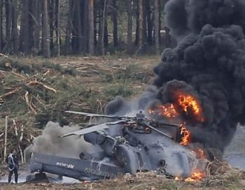 Nofilmēta helikoptera katastrofa aviošova laikā Krievijas Militārajā olimpiādē