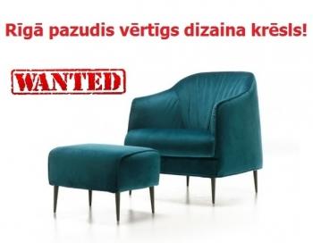 Rīgā pazudis vērtīgs dizaina krēsls
